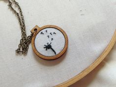 Mini Embroidery Hoop Necklace - Dandelion Parachute