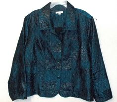 Women's plus size jacket 3x Animal print shimmer teal blue collared button front #Erin #BasicJacket