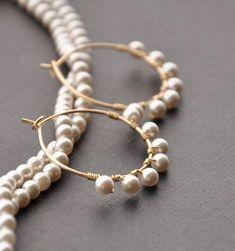 Small Gold Pearl Hoop Earrings, Elegant Gold Pearl Jewelry, Bohemian Bridal Wedding Earrings, Brides Source by etsy Wedding Earrings, Beaded Earrings, Beaded Jewelry, Bohemian Jewelry, Hoop Earrings, Pearl Earrings, Helix Earrings, Silver Earrings, Gold Necklace
