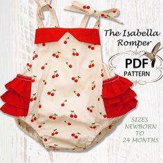 Baby PDF pattern, Romper, PDF sewing pattern, Baby Romper, Baby Sunsuit, Instant Download, Retro Romper, Isabella Romper. $6.95, via Etsy.