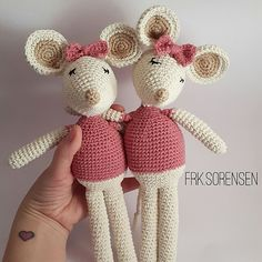 Manny and Miliemaus - crochet pattern - Amigurumi - Amigurumi Free, Crochet Patterns Amigurumi, Crochet Dolls, Knitting Patterns, Crochet Mouse, Crochet Baby, Free Crochet, Pony Beads, Crochet Animals