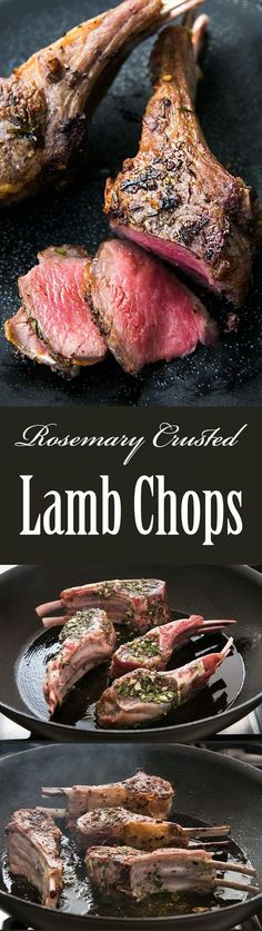 These lamb chops are pan seared and crusted with rosemary and garlic. So EASY to make! A perfect dish for a romantic dinner or entertaining. #paleo #glutenfree On SimplyRecipes.com