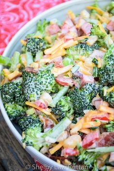 Easy Keto Broccoli Salad is a low carb cold salad full of bacon, cheese, and macadamia nuts and touch jalapeno and red bell pepper for a sweet heat touch. Low Carb Broccoli Salad, Low Carb Veggies, Broccoli Recipes, Vegetable Recipes, Spicy Broccoli, Vegetable Salad, Veggie Recipes Easy, Broccoli Diet, Asian Recipes