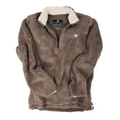 Quarter Zip Sherpa Pullover in Walnut Brown by The Southern Shirt Co. ❤ liked on Polyvore featuring tops, sweaters, sherpa sweater, brown pullover sweater, 1 4 zip pullover, shirt sweater and shirt top