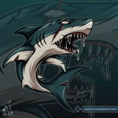 JagatKreasi – Graphic Design Studio Koi Fish Drawing, Fish Drawings, Shark Illustration, Monster Fishing, Shark Logo, Game Logo Design, Shark Bites, Graffiti Lettering, Graphic Design Studios