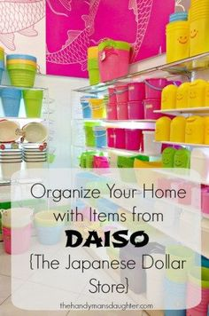 You can find so many adorable, functional and cheap storage items at Daiso (the Japanese Dollar Store). I discovered all kinds of great ways to keep our home organized! Diy Organisation, Kids Room Organization, Craft Room Storage, Dollar Store Crafts, Dollar Stores, Japanese Dollar Store, Organizing Your Home, Organizing Ideas, Diy For Kids