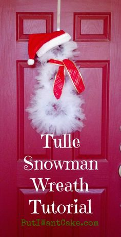 Tulle snowman wreath