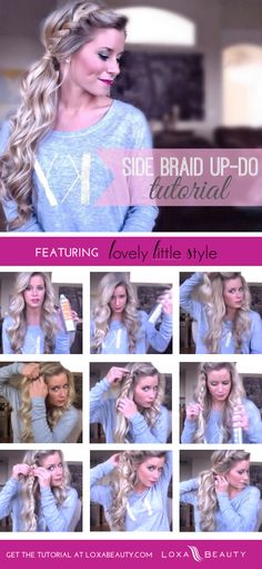 DIY Side Braid Up Do Tutorial hair beauty long hair braids how to diy hair hairstyles side braid tutorials hair tutorials easy hairstyles Pretty Hairstyles, Braided Hairstyles, Wedding Hairstyles, Hairstyle Ideas, Summer Hairstyles, Bridesmaid Hair, Prom Hair, Hair Wedding, Hair Day