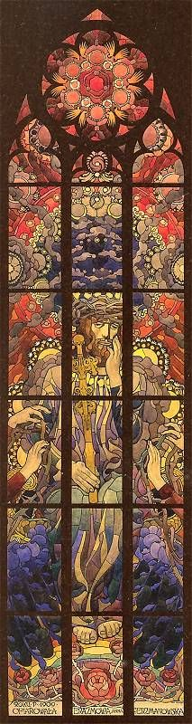 stained glass, church. Chrystus Frasobliwy
