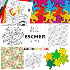 Let's Draw ESCHER-STYLE Mc Escher Art, Escher Kunst, Middle School Art, Art School, Tessellation Art, Round Robin, 8th Grade Art, Jr Art, Ecole Art
