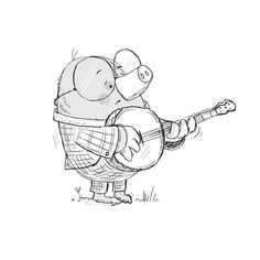 Mole knew he had hit a few duff notes in his audition... #theband #bear #fox #mole #banjo #illustration #picturebookdevelopment #picturebookidea #wip #drawing #kidlitart