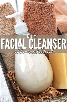 A simple tutorial to make your own homemade facial cleanser using just two ingredients.  A simple all-natural & frugal option costing just 30¢ for 8 ounces! :: DontWastetheCrumbs.com