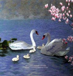 Swans, Chinese silk embroidery art, silk thread painting, all handmade, Su Embroidery Studio