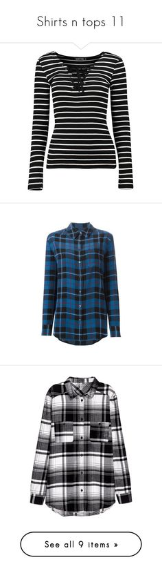 """""""Shirts n tops 11"""" by waywardghost69 ❤ liked on Polyvore featuring tops, t-shirts, crew neck t shirt, basic long sleeve tee, striped long sleeve tee, long sleeve tees, lace up t shirt, shirts, flannels and blusas"""