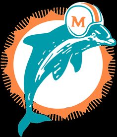 Miami Dolphins Primary Logo - Aqua dolphin leaping in front of an orange  sunburst 9903cbcc436
