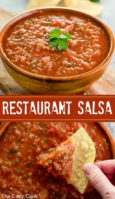 homemade restaurant salsa is super fresh and tastes just like an authentic Mexican restaurant You cant beat this flavor combination Serve it with chips tacos burritos wit. Authentic Mexican Recipes, Mexican Salsa Recipes, Mexican Dishes, Authentic Salsa Recipe With Fresh Tomatoes, Salsa Recipe Using Canned Tomatoes, Salsa With Fresh Tomatoes, Homemade Mexican Salsa, Mexican Desserts, Appetizer Recipes