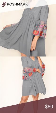 dc107615a204e2 Grey babydoll dress with embroidered sleeve Mid length plus size dress.  Xl-3X Dresses