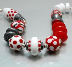 CLO BEADS  Polka Dots in Red and White with by CareyOHalloran, $45.00