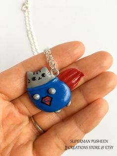 Kawaii pusheen cat necklace Pusheen the cat by JJcreationsStore