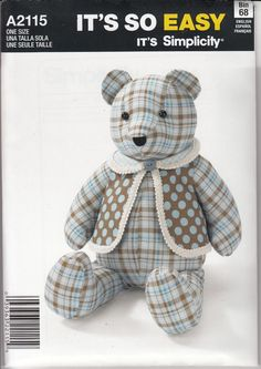 "Easy 18"" Teddy Bear and Vest Pattern Simplicity It's So Easy A2115"