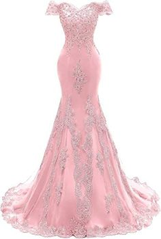 Best Seller Asoiree Womens Off Shoulder Evening Gown Lace Mermaid Beading Sequins Appliques Prom Dresses Crystal Sweetheart Sleeves online Pretty Prom Dresses, Ball Dresses, Elegant Dresses, Nice Dresses, Ball Gowns, Beaded Dresses, Girls Dresses, Formal Dresses, Beaded Evening Gowns