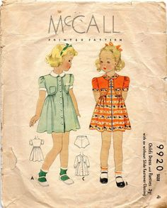 McCall 9920 1930s Toddlers  Dress and Panties Pattern Button or Zip Front Girls  Vintage Sewing Pattern Size 4 Breast 23