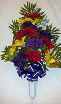 Autumn Cemetery Vase with Mums and Purple Peonies - Great flower arrangement for the Fall season.