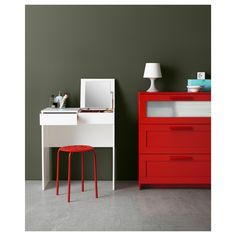 IKEA - BRIMNES, Dressing table, white, Built-in mirror with hidden storage space that helps you organize your jewelry and makeup. Drawer stops prevent the drawer from being pulled out too far. Apartment Storage, Ikea Dressing Table, Brimnes Dressing Table, Furniture, Small Apartment Furniture, Desk With Drawers, Apartment Furniture, Brimnes, Tiny Furniture