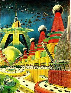 Futuristic City - Retro Futurism / Illustration / Vintage Science Fiction / Sci Fi