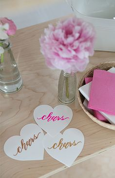 Black, White, and PInk XOXO Baby Shower Calligraphy drink coasters