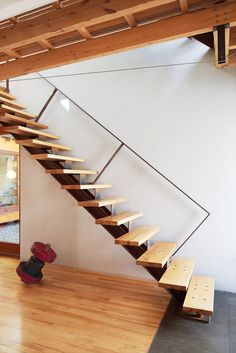 "To eliminate flex in the cantilevered stairs, Bernier placed the structural stringer off-center. ""When you climb the stairs and hold the rail, you actually step closer to the inside edge,"" he says. He also located the handrail against the wall to keep it from visually interrupting the living room. The custom metalwork is by Félix Lepage.  photos by:  Alexi Hobbs  Read more: http://www.dwell.com/slideshows/separate-boite-equal.html?slide=13=y=true##ixzz25k6LPpvK"