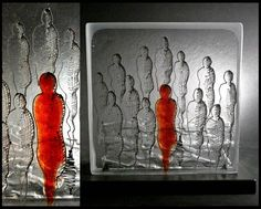 """""""Standing out from the Crowd"""" by Teresa Chlapowski. Fused low iron glass and glass-line pen. Each figure is 'painted' on a different layer giving depth and perspective."""