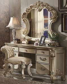 3 pc Vendome collection gold patina finish wood bedroom make up vanity. This set includes the Vanity desk, Mirror and Stool. Vanity desk measures x x H. Mirror measures x H. Stool measures x x H. Some assembly required. Painted Bedroom Furniture, Wood Bedroom, Apartment Furniture, Design Furniture, Luxury Furniture, Home Furniture, Furniture Stores, Cheap Furniture, Discount Furniture
