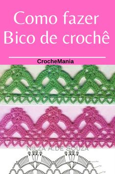 Quer aprender Clicar na imagem e salve esse Pin! Crochet Boarders, Crochet Edging Patterns, Crochet Trim, Crochet Lace, Free Crochet, Diy And Crafts, Projects To Try, Knitting, Crochet Dishcloths