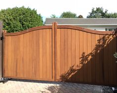 Hardwood driveway gates - the Berkshire design with fitted below ground automation. Electric Gates, Driveway Gate, Outdoor Furniture, Outdoor Decor, Hardwood, Garage Doors, Design, Natural Wood