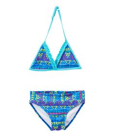 Another great find on #zulily! Blue Geometric Triangle Bikini - Girls #zulilyfinds