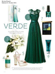 Hermoso outfit para una boda en tono verde esmeralda, ideal para madrinas o damas de honor.