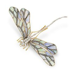 Art-Nouveau-Opal-and-Diamond-Dragonfly-Brooch-c1910-CH - Category:Art Nouveau Jewelry - AJU