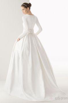 High Neck Elastic Silk Like Satin,organza,tulle Natural Waist Ball Gown Wedding Dress - Andyprom.com