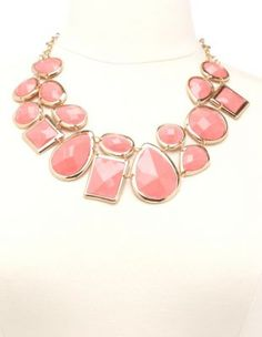 Faceted Gem Statement Necklace in Pale Peach - Charlotte Russe