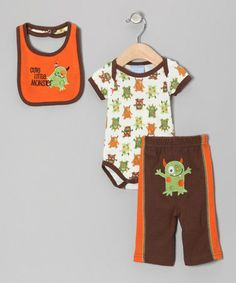 Take a look at this Orange & Brown 'Cute Little Monster' Bodysuit Set by Duck Duck Goose on #zulily today!