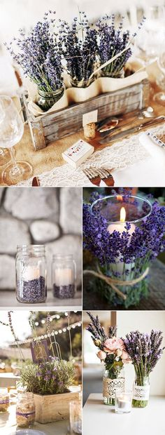 country rustic lavender wedding centerpiece ideas! Don't forget lavender personalized napkins for all your wedding events! From the engagement party to the reception personalized napkins add that extra little something! #countryweddings www.napkinspersonalized.com: