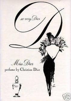 1962 Rene Gruau Woman Art Christian Dior Miss Dior Perfume Vintage Print Ad Perfume Vintage, Perfume Ad, Vintage Dior, Vintage Beauty, Vintage Fashion, 1950s Fashion, Victorian Fashion, Fashion Fashion, Trendy Fashion