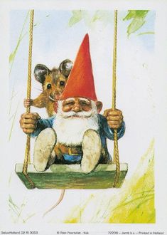 Vintage art print David the gnome on a swing. By Rien Poortvliet. David The Gnome, Baumgarten, Vintage Art Prints, Woodland Theme, Dutch Artists, Mythological Creatures, Magical Creatures, Christmas Pictures, Vintage Cards