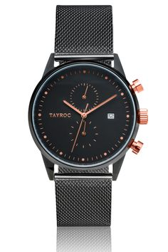 Men's black and rose gold watch by Tayroc.