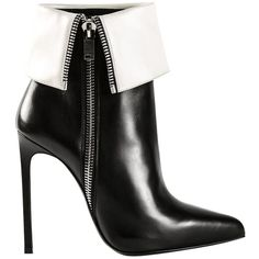 Pre-owned Saint Laurent 'paris 80' Ankle Es 38.5 Black/white Boots ($500) ❤ liked on Polyvore featuring shoes, boots, ankle booties, leather ankle boots, pointy-toe ankle boots, pointy toe booties, bootie boots and pointed toe booties