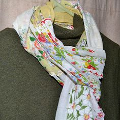 Hankie scarf. What a great idea for what to do with all those vintage hankies