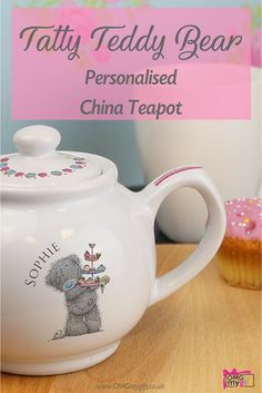 Personalised China Teapot featuring Tatty Teddy Bear from the Me To You range.  A charming Gift For Her and a Gift for a Friend, that is perfect for every occasion.  A birthday gift, a Mother's Day Gift, and a unique idea for a Housewarming Gift