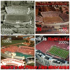 Memorial Stadium in Lincoln, Nebraska! These four photographs show the transformation of Memorial Stadium from the early to the present. Love how great the team and community as a whole had grown around the game! Nebraska Cornhuskers Football, Nebraska Football, Oregon Ducks Football, Notre Dame Football, Ohio State Football, Ohio State Buckeyes, Kansas City Chiefs, College Football, Oklahoma Sooners
