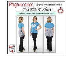 Tshirt Sewing Pattern - PDF Ellie T-shirt - Upcycle Sewing Pattern - Feminine blouse from unisex t-shirt! Repurpose Recycle | tshirt pattern